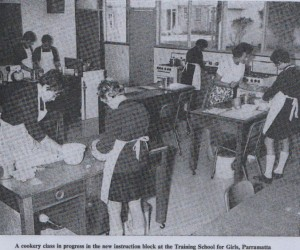 A cookery class in progress in the new instruction block at the Training School for Girls, Parramatta, c. 1970 (Children's Welfare Department NSW, Annual Report, 1970).