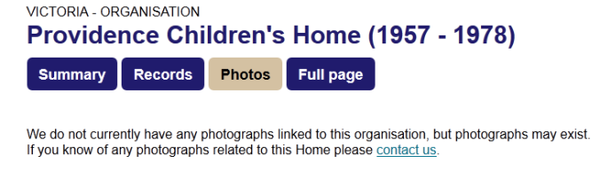 This is the message users see when we have no photos of a Home on Find & Connect.
