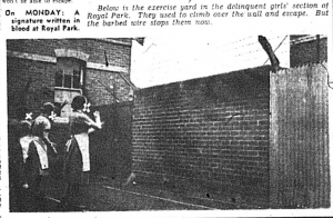The exercise yard in the delinquent girls' section of Royal Park (The Herald, 25 October 1952, p.13)