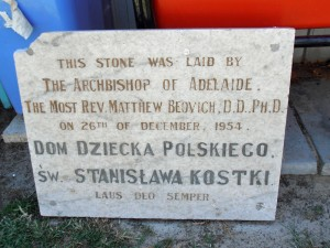 Foundation Stone, St Stanislaus House.  Courtesy of Gary George.