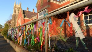Loud fence at St Alipius school, Ballarat, 2015. Source: Fairfax Media