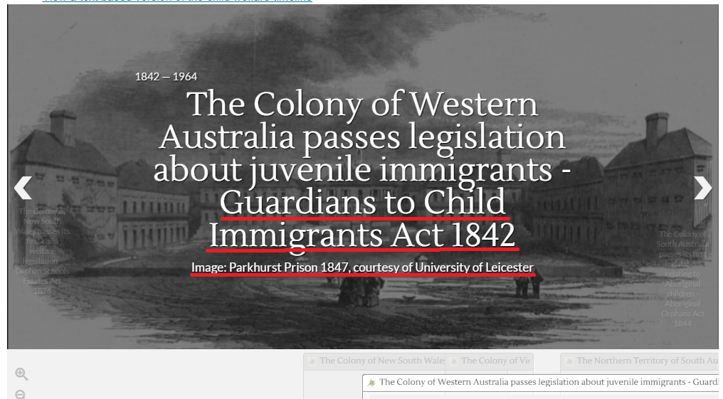 Image highlighting where the links are for Guardians to Child Immigrants Act 1842 timeline page
