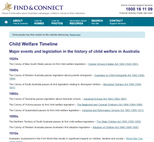 Text based child welfare timeline