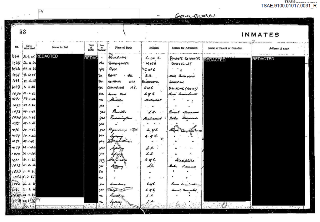Admission register where residents are called 'inmates'