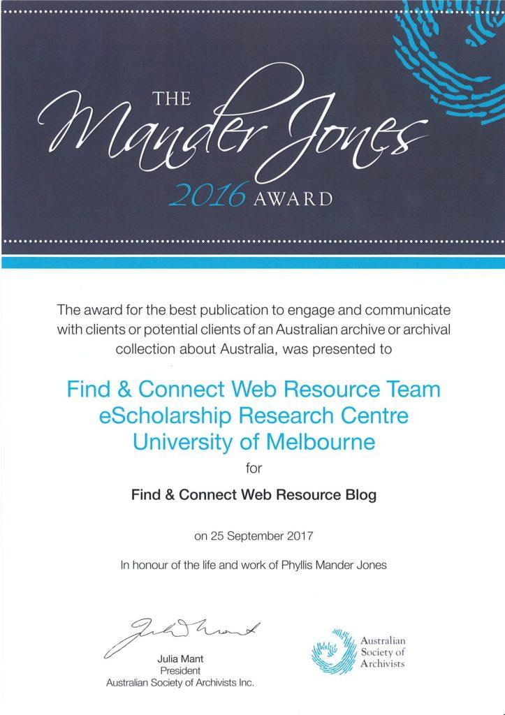 ASA Mander Jones award