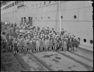 The first group of post-war child migrants from Asturias arrive in Fremantle 1947.