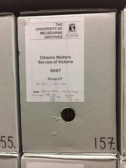 Box containing family case files