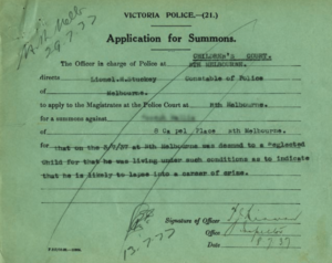 Summons for being a neglected child and 'likely to lapse into a career of crime' – North Melbourne Children's Court, 8th July 1939.