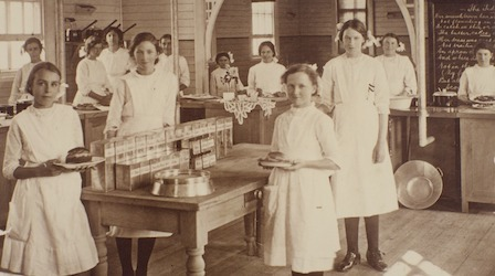 Girls in cookery class, Melbourne Orphanage, Brighton, Vic.